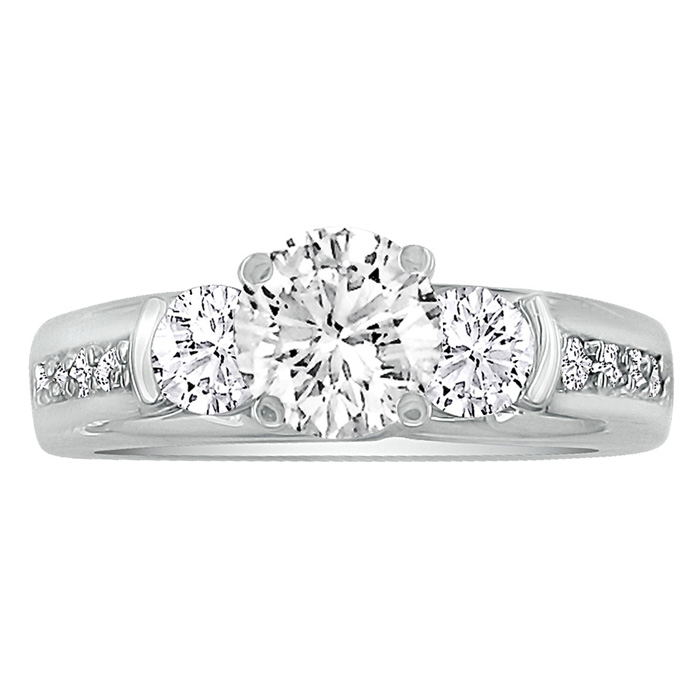 1.65 Carat Diamond Engagement Ring in 14K White Gold, 1 Carat Center Stone, G/H by SuperJeweler