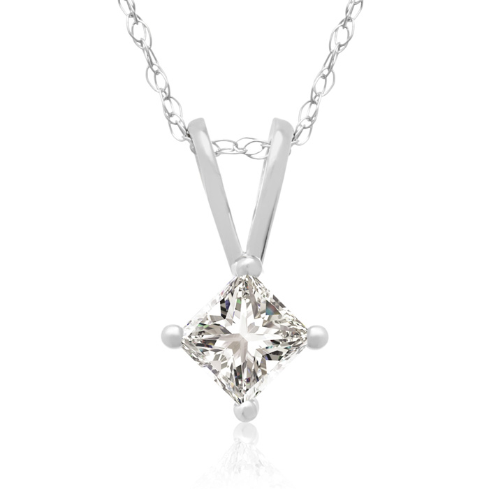 1/4 Carat 14k White Gold Princess Cut Diamond Pendant Necklace, J/K, 18 Inch Chain by Hansa