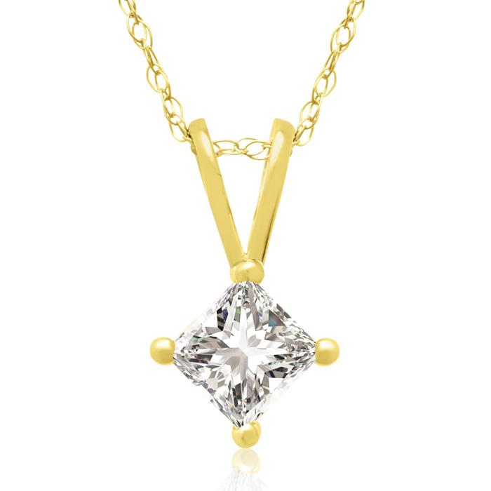 1/3 Carat 14k Yellow Gold Princess Cut Diamond Pendant Necklace,