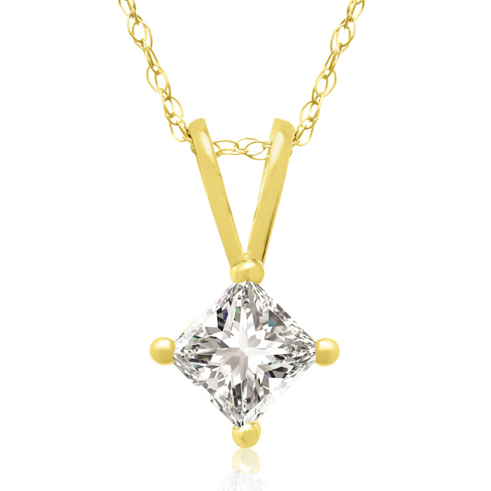 1/3 Carat 14k Yellow Gold Princess Cut Diamond Pendant Necklace,