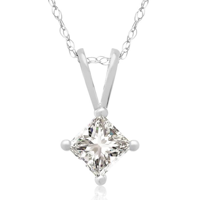 3/8 Carat 14k White Gold Princess Cut Diamond Pendant Necklace, J