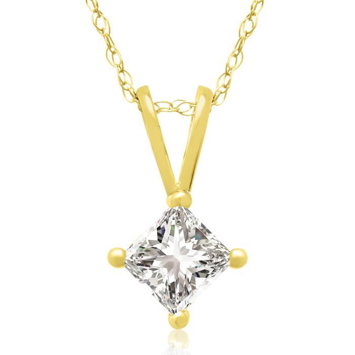 3/8 Carat 14k Yellow Gold Princess Cut Diamond Pendant Necklace,
