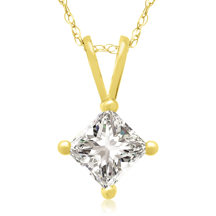 2/3 Carat 14k Yellow Gold Princess Cut Diamond Pendant Necklace,