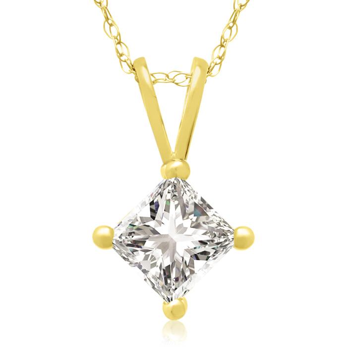 2/3 Carat 14k Yellow Gold Princess Cut Diamond Pendant Necklace, J/K, 18 Inch Chain by Hansa
