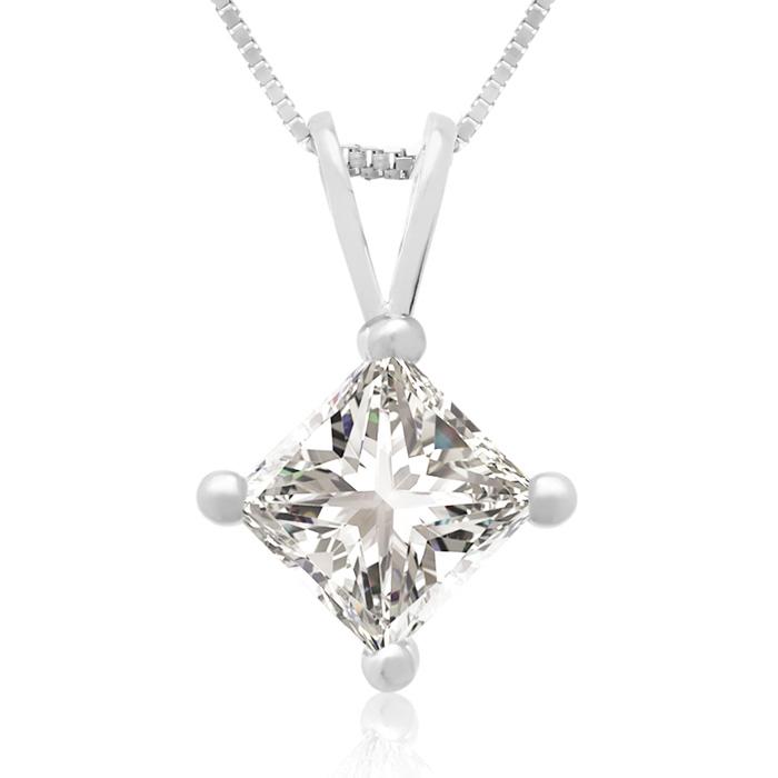 3/4 Carat 14k White Gold Princess Cut Diamond Pendant Necklace, J/K, 18 Inch Chain by Hansa