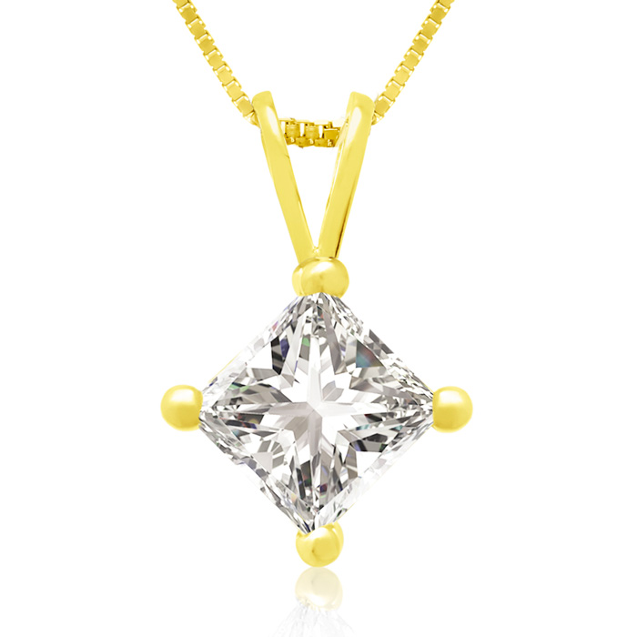 3/4 Carat 14k Yellow Gold Princess Cut Diamond Pendant Necklace, J/K, 18 Inch Chain by Hansa
