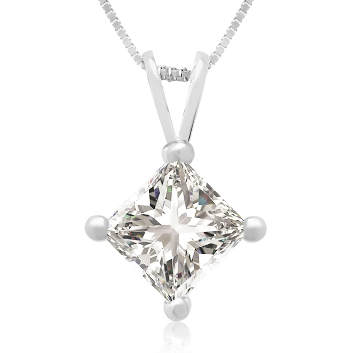 .85 Carat 14k White Gold Princess Cut Diamond Pendant Necklace, J/K, 18 Inch Chain by Hansa