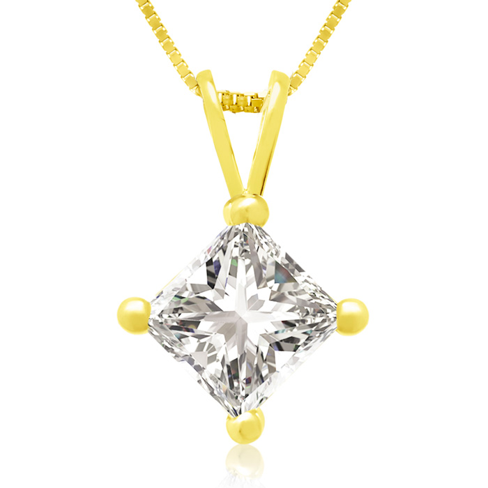 .85 Carat 14k Yellow Gold Princess Cut Diamond Pendant Necklace,