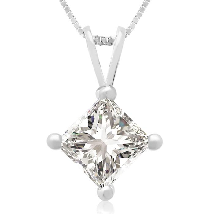 1 Carat 14k White Gold Princess Cut Diamond Pendant Necklace, J/K