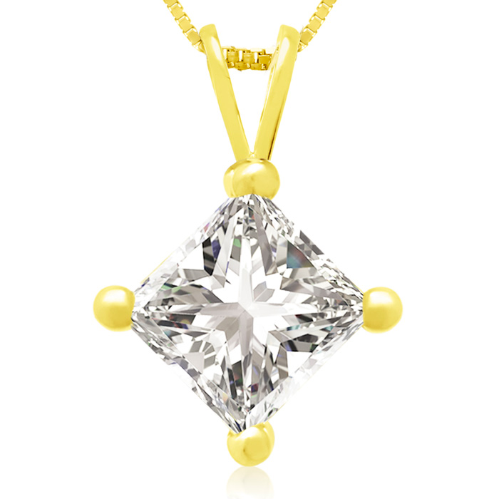 1.50 Carat 14k Yellow Gold Princess Cut Diamond Pendant Necklace,