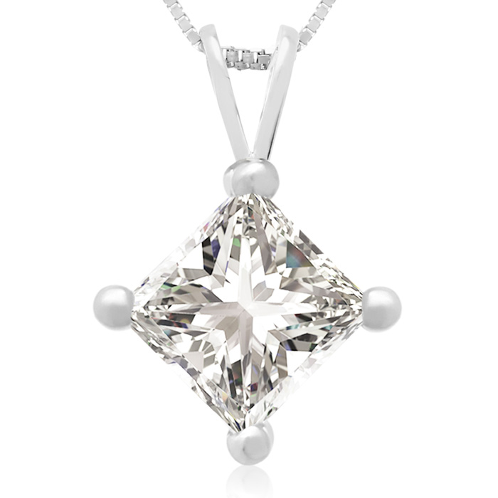 1.50 Carat 14k White Gold Princess Cut Diamond Pendant Necklace, H/I, 18 Inch Chain by Hansa