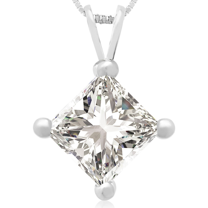 2 Carat 14k White Gold Princess Cut Diamond Pendant Necklace, H/I, 18 Inch Chain by Hansa