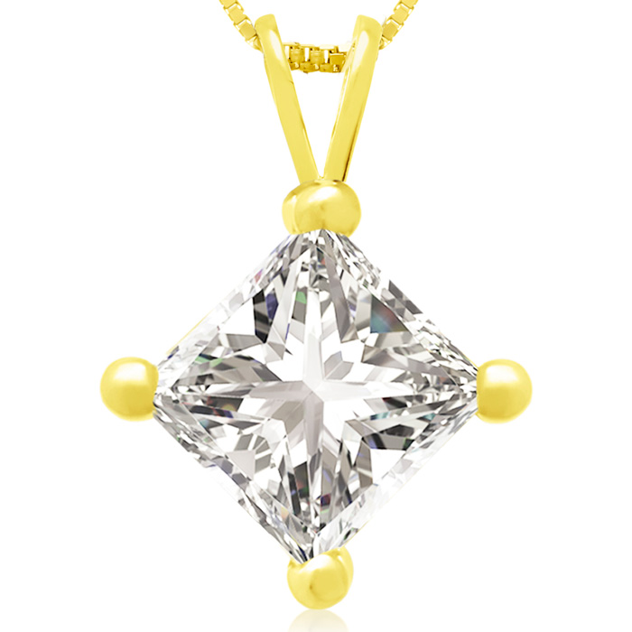 2 Carat 14k Yellow Gold Princess Cut Diamond Pendant Necklace, H/