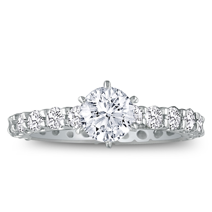3 Carat Diamond White Gold (3.5 g) Eternity Bridal Engagement Ring, 1 Carat Center (H-I, SI2-I1) by SuperJeweler
