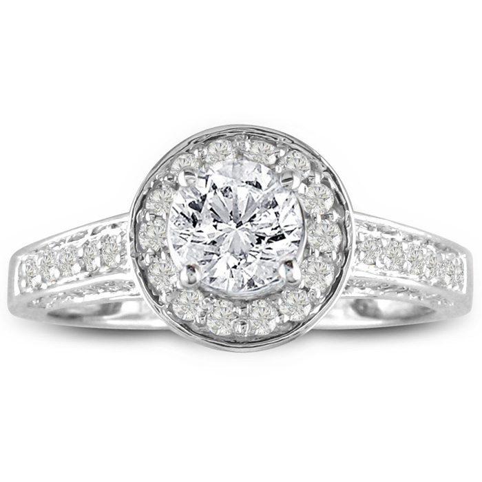 1 Carat Micropave Diamond Engagement Ring in 14k White Gold (2.8