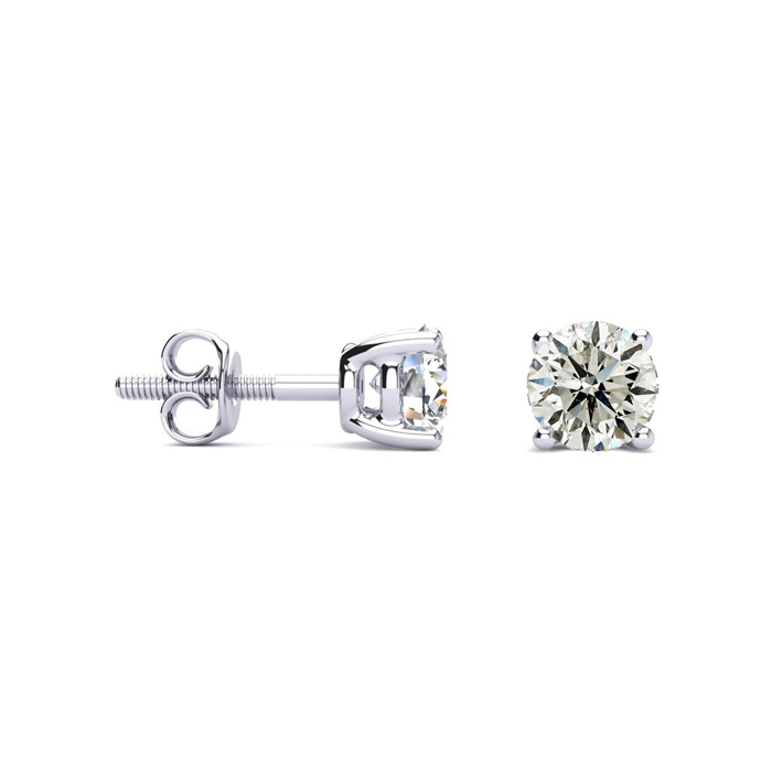 Platinum 1 Carat Diamond Stud Earrings, J/K by Hansa