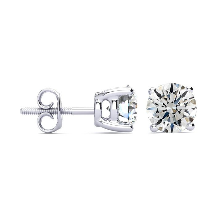 3ct Diamond Stud Earrings Set In 18 Karat White Gold, H/I, I1 Screwbacks