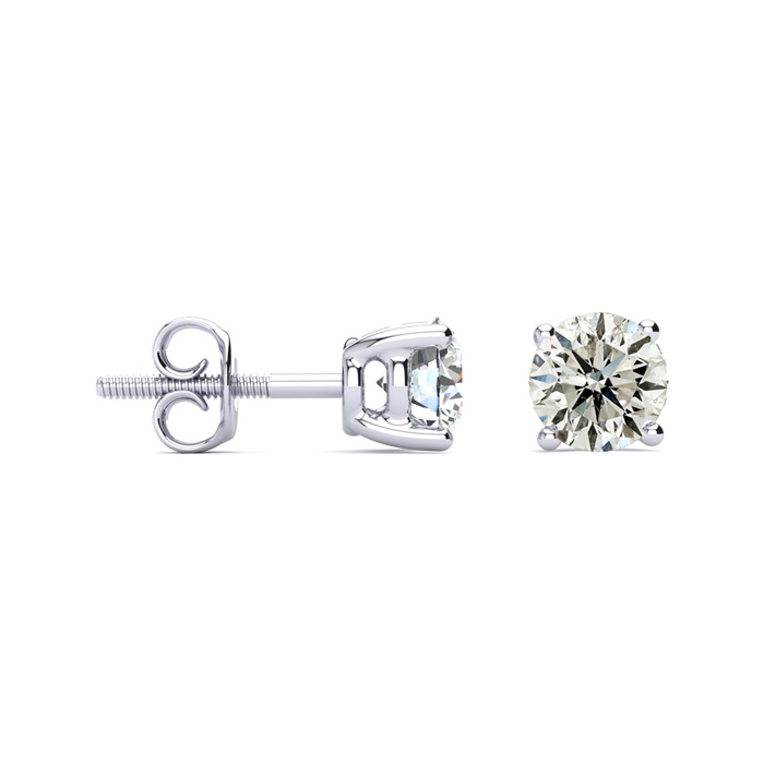 1.5 Carat Classic Quality Diamond Stud Earrings in Platinum, J/K