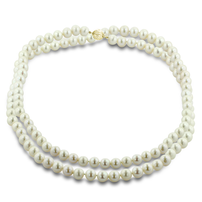 30 Inch 10mm AAA Hand knotted Pearl Necklace, 14k White Gold Clas
