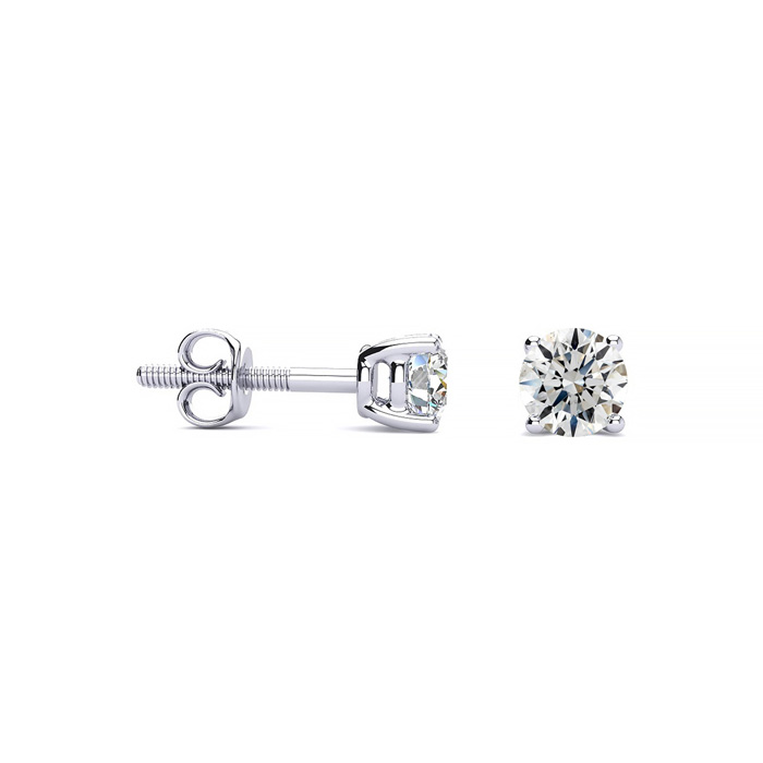 1/3 Carat Round Diamond Stud Earrings in Platinum, G/H, VS/SI by
