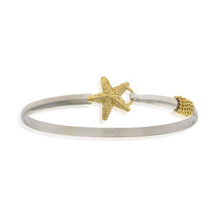 Two Tone Gold Overlay Starfish Bangle Bracelet, 7 Inches in Sterl