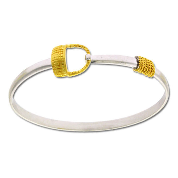 Two Tone Gold Overlay Love Lock Bangle Bracelet, 7 Inches by Supe