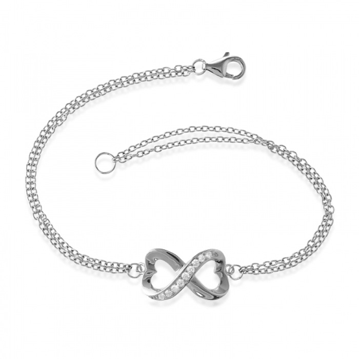 Half Heart Double Strand Cubic Zirconia Infinity Bracelet in Sterling Silver, 7 Inches by SuperJeweler