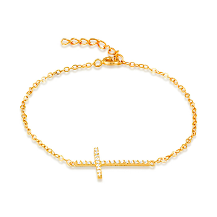 Sideways Cross Gold-Plated Cubic Zirconia Bracelet in Sterling Si