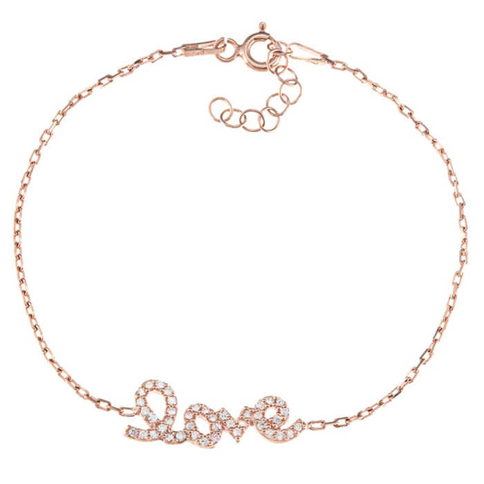 Delicate Love Rose Gold-Plated Cubic Zirconia Bracelet in Sterling Silver, 6 inches by SuperJeweler