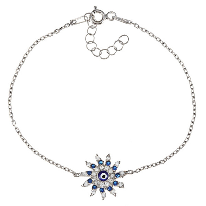 Sun-Shaped Evil Eye Cubic Zirconia Bracelet in Sterling Silver, 6