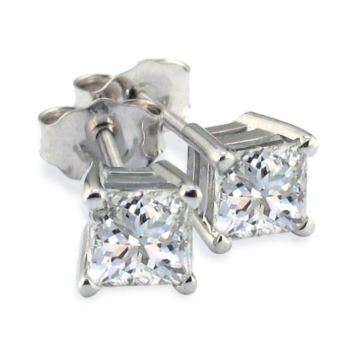 Platinum 1/4 Carat Princess Cut Diamond Stud Earrings, I/J by Han