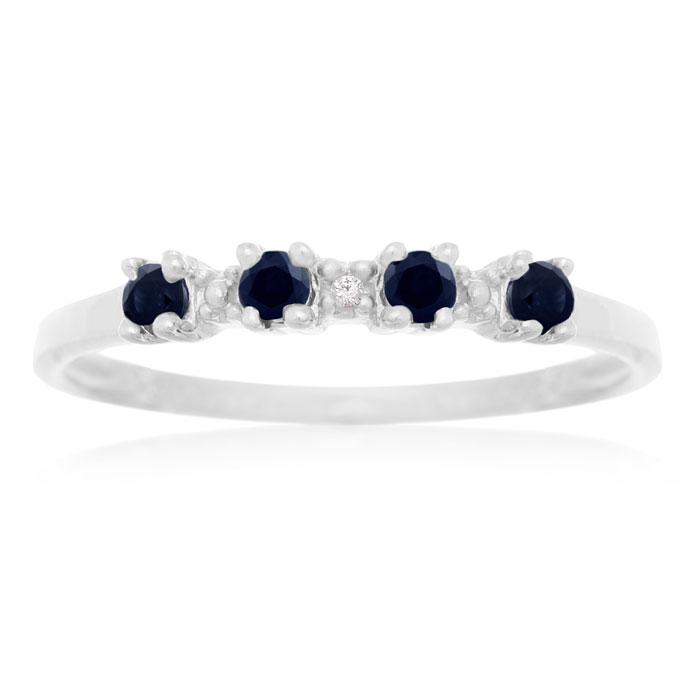 Dainty 1/2 Carat Blue Sapphire & Diamond Ring in Sterling Silver,