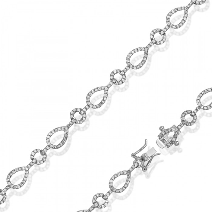 Pear & Circle Cubic Zirconia Bracelet in Sterling Silver, 7.5 Inches by SuperJeweler
