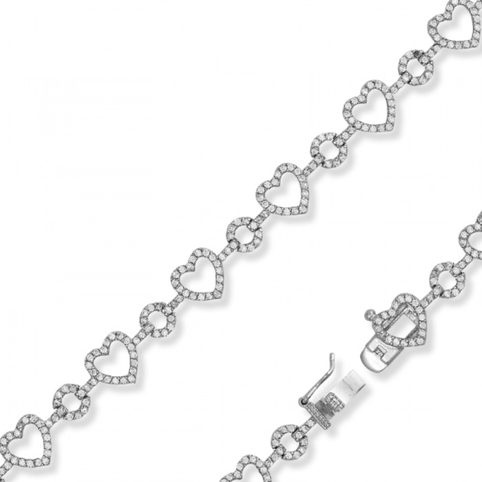 Open Heart & Circles Cubic Zirconia Bracelet in Sterling Silver,
