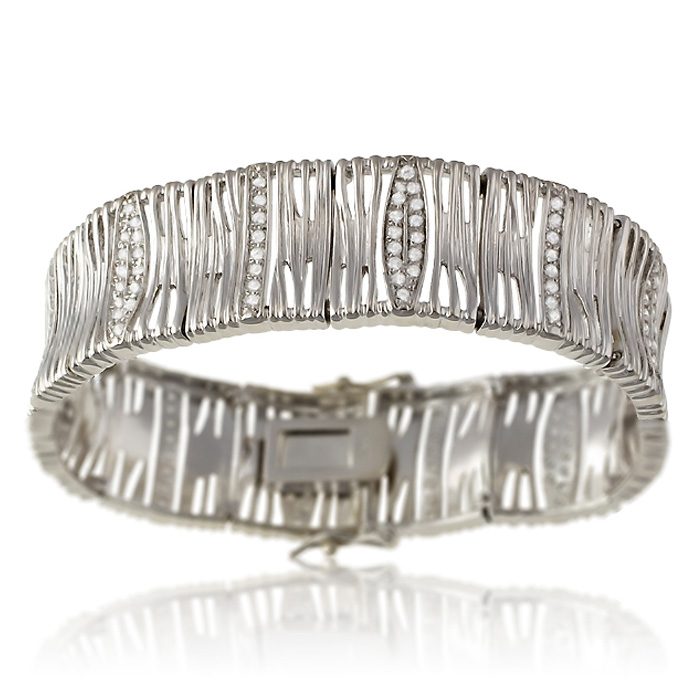 Chunky Cubic Zirconia Cuff Bracelet in Sterling Silver, 7 Inches