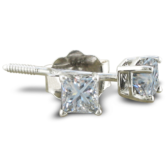 1/2 Carat Princess Cut Diamond Stud Earrings in Platinum, I/J, SI