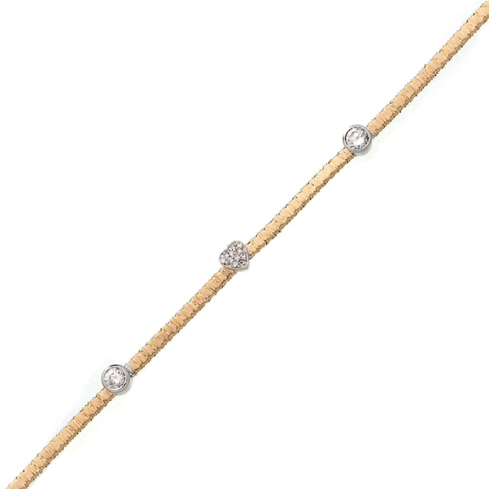 Heart & Circle Cubic Zirconia Gold-Overlay Bracelet in Sterling S