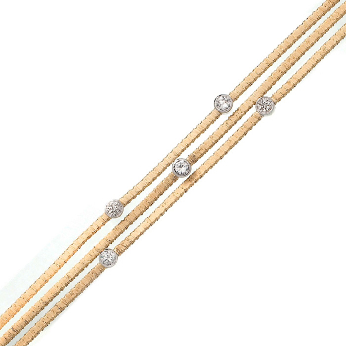 Triple Strand Gold-Overlay Circle Cubic Zirconia Bracelet in Ster