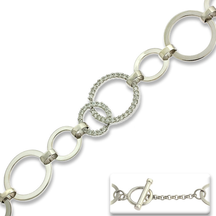 Circle Link Cubic Zirconia Toggle Bracelet in Sterling Silver, 7.