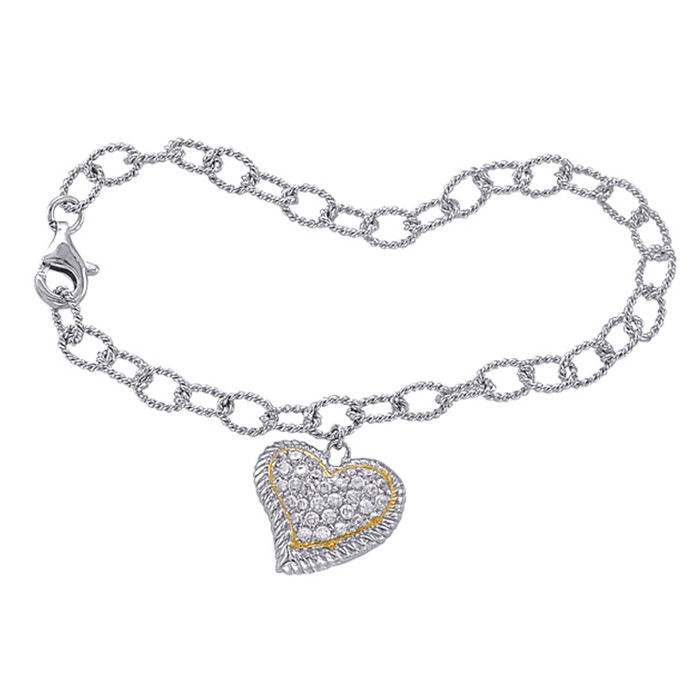 Image of Two-Tone Cubic Zirconia Curved Heart Charm Bracelet In Sterling Silver, 7 Inches