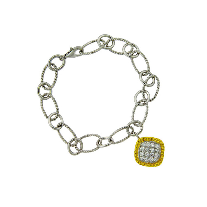Image of Two-Tone Cubic Zirconia Square Charm Bracelet In Sterling Silver, 7 Inches