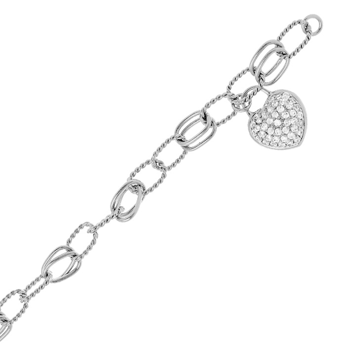 Heart Charm Bracelet w/ Cubic Zirconias in Sterling Silver, 8 Inches by SuperJeweler