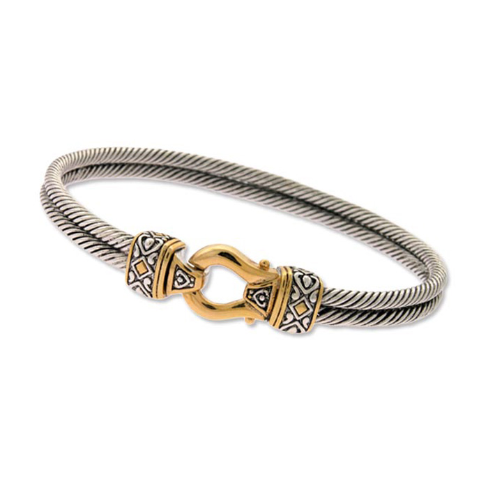 Vintage Inspired Two Tone Gold Overlay Double Rope Bangle Bracele