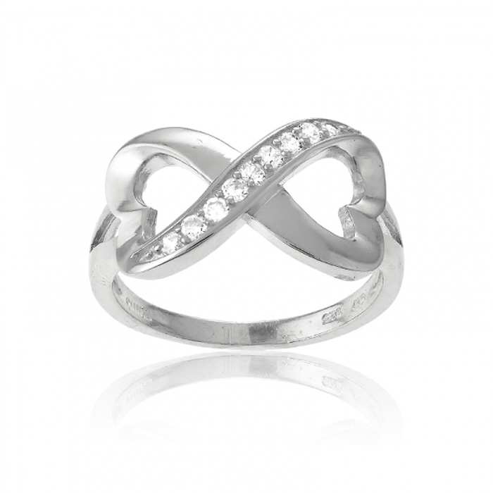 Sterling Silver Infinity Heart CZ Ring by SuperJeweler