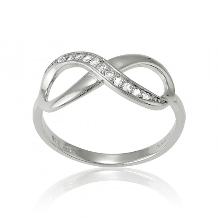 Sterling Silver Infinity Ring w/ White Topaz Accents by SuperJewe
