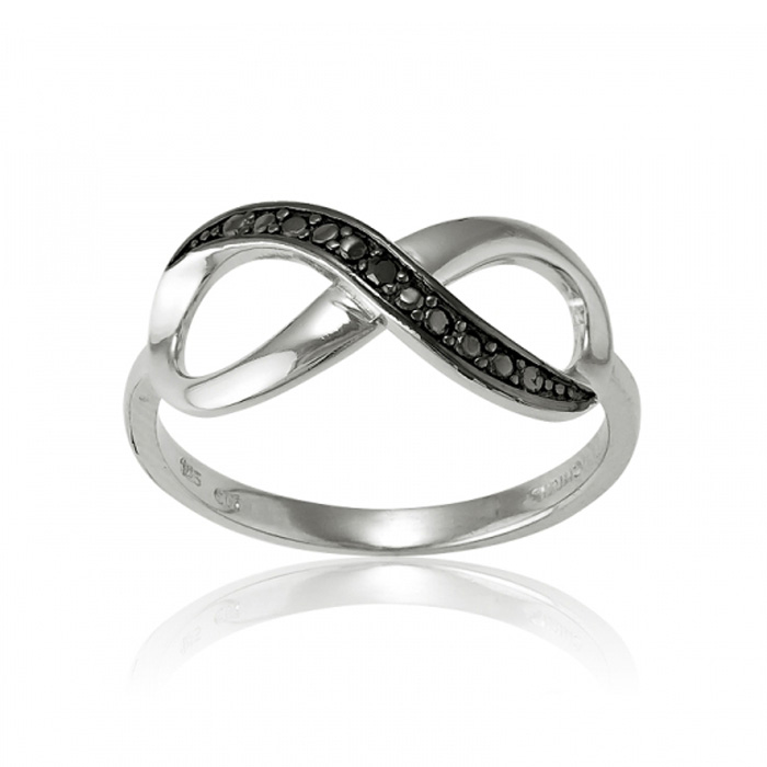 Sterling Silver Infinity Ring w/ Black CZ Accents by SuperJeweler