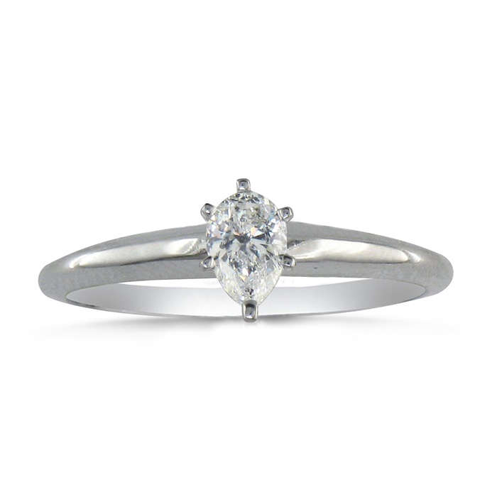 1/4 Carat Pear Shape Diamond Solitaire Ring in 14k White Gold (2.1 g) (H-I, SI2-I1) by SuperJeweler