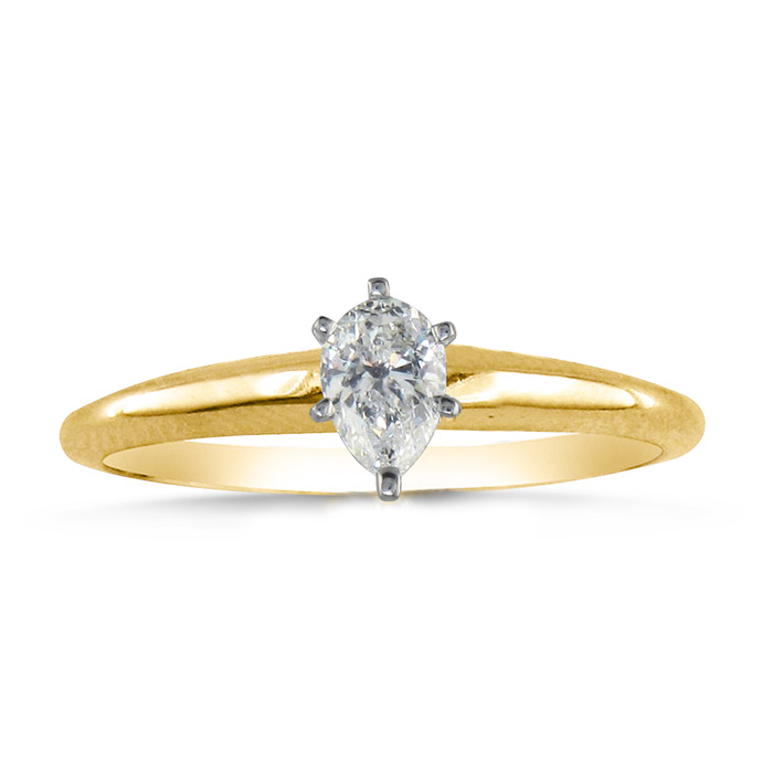 1/4 Carat Pear Shape Diamond Solitaire Ring in 14k Yellow Gold (2