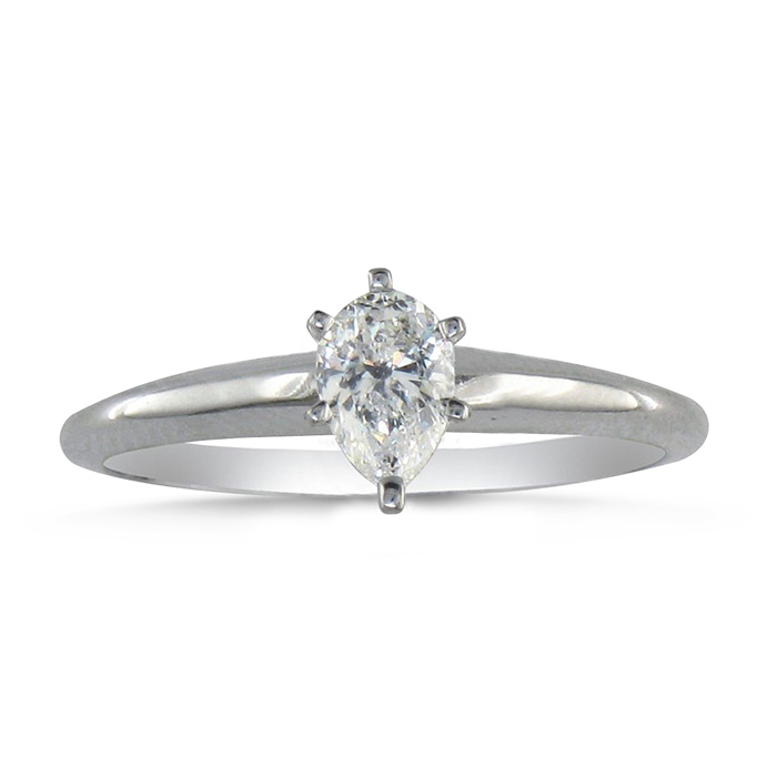 1/3 Carat Pear Shape Diamond Solitaire Ring in 14k White Gold (2.1 g) (H-I, SI2-I1) by SuperJeweler