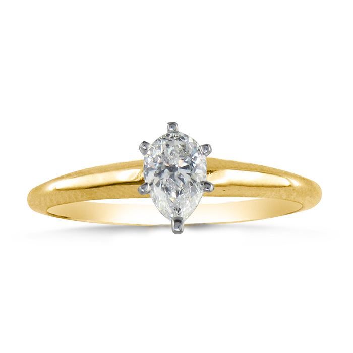 1/3 Carat Pear Shape Diamond Solitaire Ring in 14k Yellow Gold (2.1 g) (H-I, SI2-I1) by SuperJeweler
